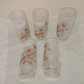 グラス ガラス製 花模様