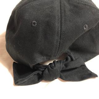 帽子 キャップ 黒 リボン