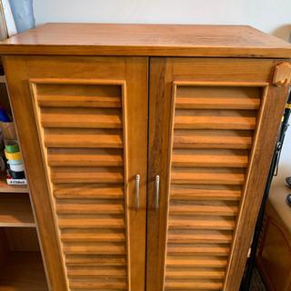 天然木桐材、天然木桐合板ルーバーシューズボックス