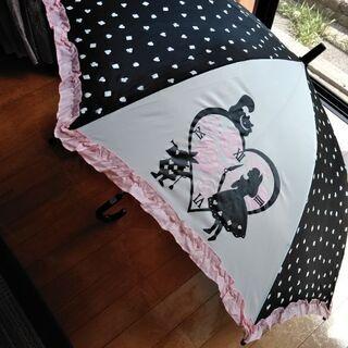無料 アリス ピンク×黒 フリル傘 女児用 55センチ