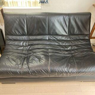 本革製 ブラックソファー