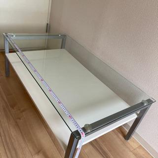 ガラス テーブル 白 高さ調整付き