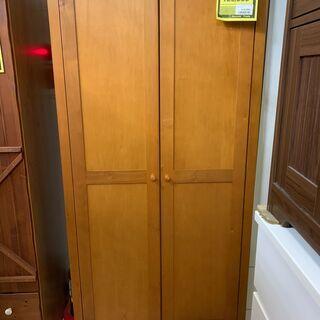 高脚ワードローブ ブラウン 茶色 二枚扉 鏡付き タンス クロー...