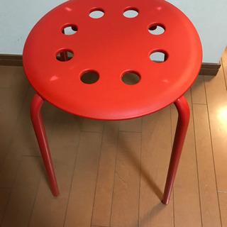 IKEA イケア 丸椅子 スタッキング チェア 赤