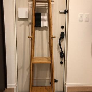 【決定しました】竹製ハンガーラックスリム3段棚付き