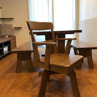 ウッドダイニングテーブルセット(テーブルx1&長椅子x2&シング...