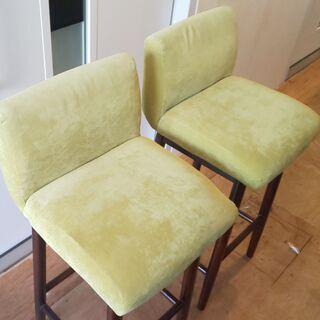 ハイチェア(薄緑色)2脚