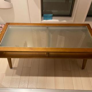 【ネット決済】ニトリ テーブル ローテーブル ガラス 収納 引き...