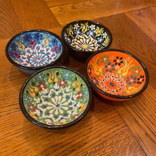 アジアン雑貨 手塗り 小皿 4個セット