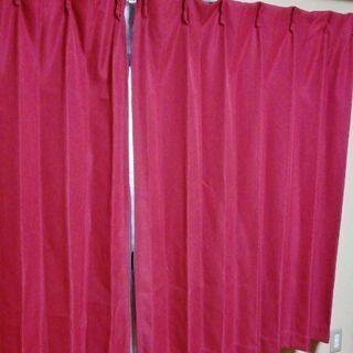 無料★ニトリで購入 カーテン 100✕135用 左右  赤…