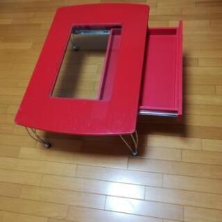 ガラスディスプレイ 赤ローテーブル