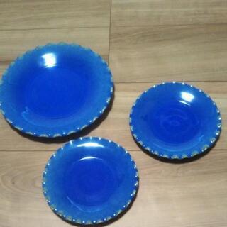 ブルーのお皿3点セット