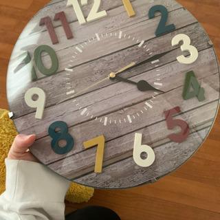 掛け時計 ウッド調カラフルナンバー