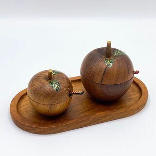 【木製漆器】りんご型のシュガーポット