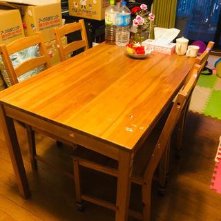 【Ikeaダイニングセット】ナチュラル/テイブル+椅子4点