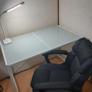 【 商談中】※ガラスL字デスク ※オフィスチェア※LEDライト