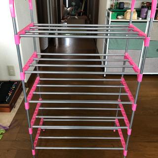 【美品】靴収納棚/五段大容量/軽量省ペース/ピンク