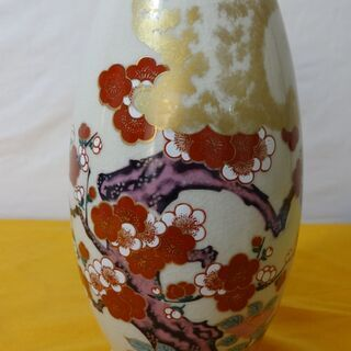 ★ 九谷焼 九谷栄山 紅白梅 花瓶 ★