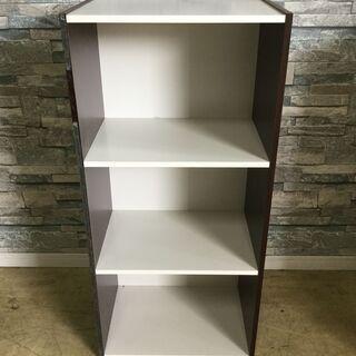 売却済3段カラーボックス 収納棚 ホワイト×ブラウン 収納...