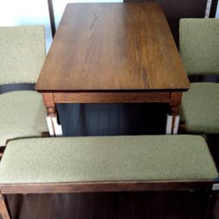 B-Company ダイニングテーブルセット(椅子2脚&長椅子)...