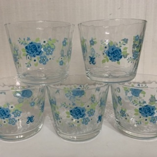 可愛い花柄 ガラスのコップ 5個セット お値下げしました!