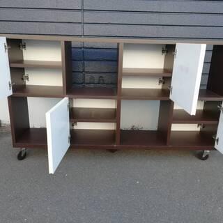【051702】収納 ラック 裏表両方から取り出し可能 幅143㎝ 奥行34㎝ 高さ84㎝【引取限定】 - 家具