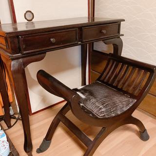 【ネット決済】アジアン家具 猫足デスクと椅子セット