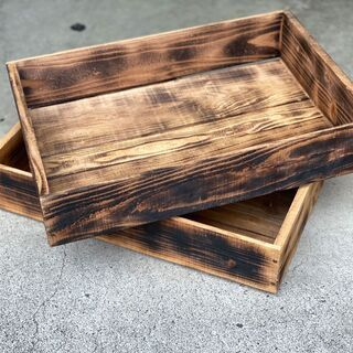 ハンドメードの木箱(焦がしタイプ)