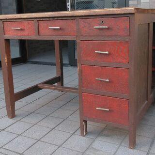 戦前の机 無垢材 古家具 アンティーク机