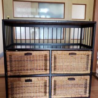 リビング収納 籐製籠 棚