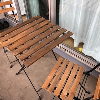 IKEA テルノーガーデンテーブル+チェア2脚