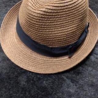 GU リボンつきブラウン麦わら帽子