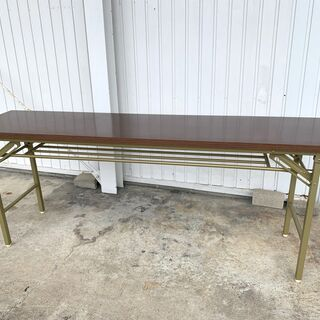 折りたたみ 長テーブル 木目調 幅1800×奥行450×高…