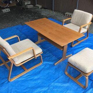 ローテーブル・ソファーチェアー 4点セット