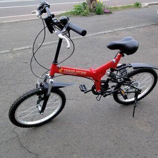自転車 折りたたみ 20インチ レッド系 6速 シティサイ…