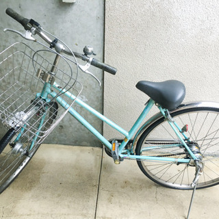 ギアチェンジ付き 自転車 訳あり 綺麗なアクアブルー