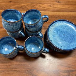 藍色のカップ、ソーサー6客セット