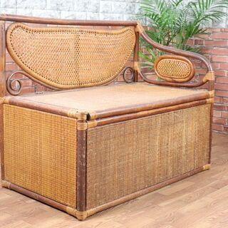 籐のソファ 二人掛け 2Pソファ 収納◎ アンティーク シ…