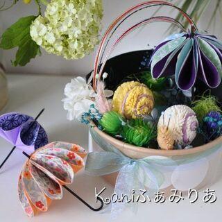 日本の伝統を季節のお花とおりがみで楽しむ♥傘と虹とかたつむり♥