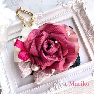 ☆リボンで作ったバラをデコレーション☆大人可愛いバッグチャームを...
