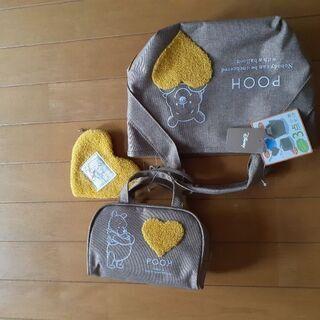 くまのプーさん トートバッグ、ポーチ サガラ刺繍 3点セット