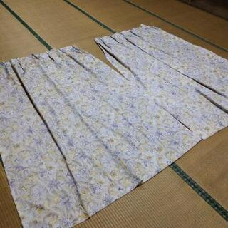 カーテン 2枚 花柄 ブルー