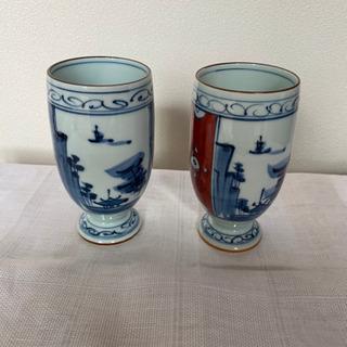 有田焼 一義作 手書き 陶器のペアグラス