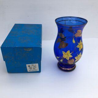 未使用 ブルー チェコ製 ボヘミアガラス 金彩 花瓶☆高さ約23...