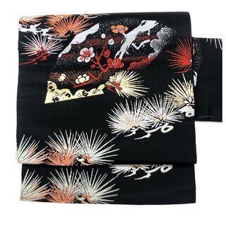 【ネット決済・配送可】 ◇名古屋帯 織り◇ 扇に梅柄 松紋様 正...