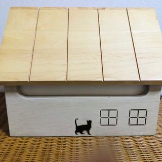 新品未使用 廃番 木製×アイアン風三角屋根の家と猫モチーフ郵便受...