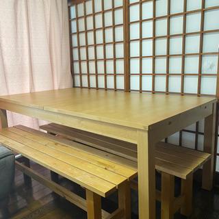 伸縮自在・ダイニングテーブルセット(170×95 高さ73cm)...