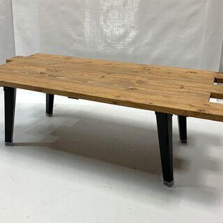 ビンテージ風 木製 折りたたみ テーブル 幅約955×奥行約45...
