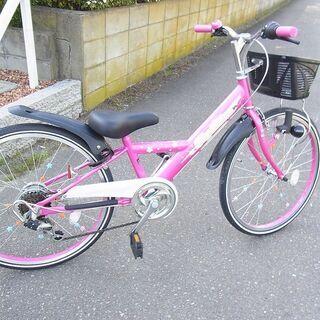 子供用 自転車 22インチ? シマノ 黒/ピンク