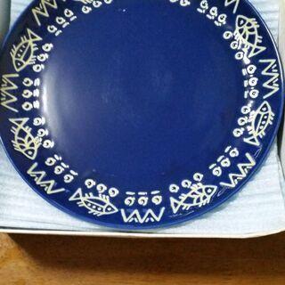 平皿 藍色 5枚セット箱入り ほとんど未使用